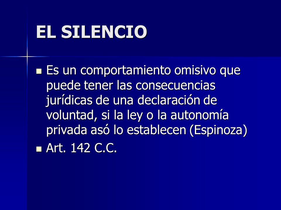EL SILENCIO Es un comportamiento omisivo que puede tener las consecuencias jurídicas de una declaración de voluntad, si la ley o la autonomía privada