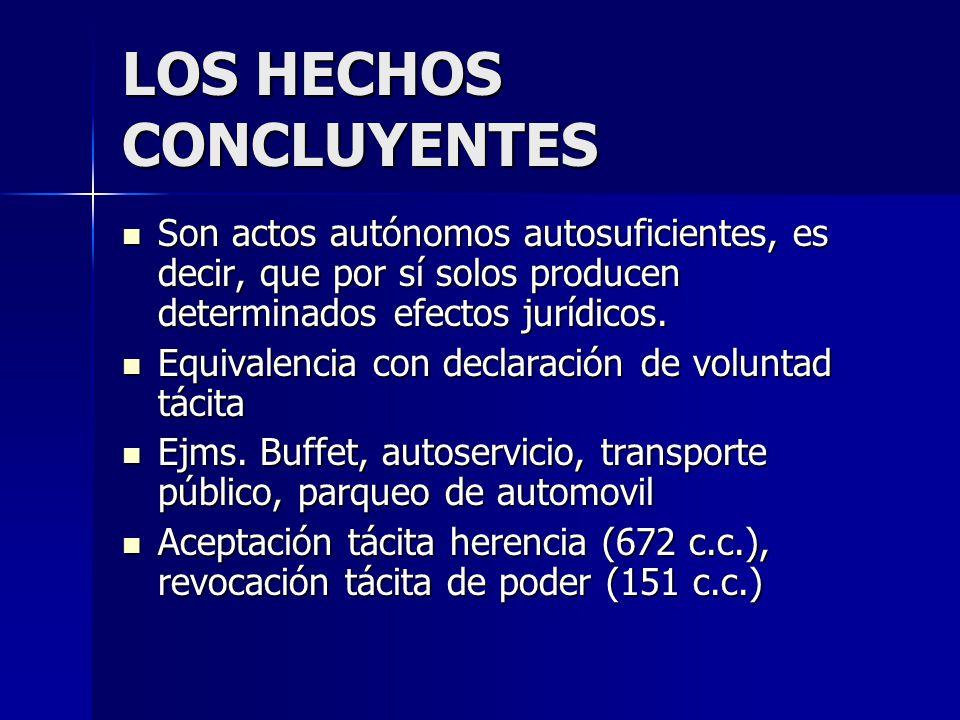 LOS HECHOS CONCLUYENTES Son actos autónomos autosuficientes, es decir, que por sí solos producen determinados efectos jurídicos. Son actos autónomos a