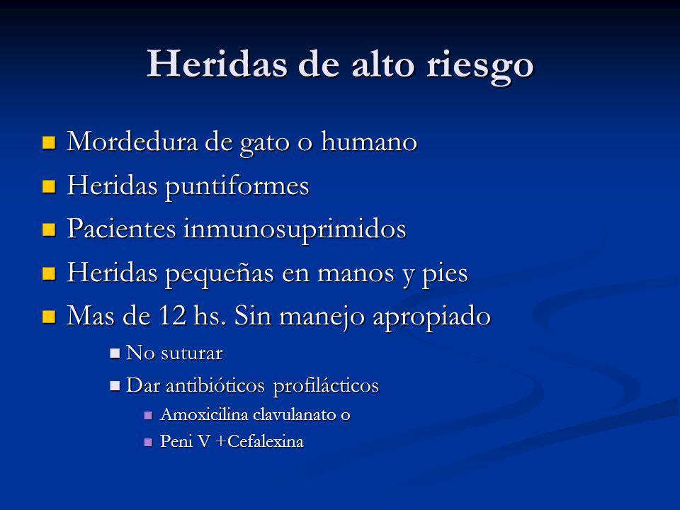 Heridas de alto riesgo Mordedura de gato o humano Mordedura de gato o humano Heridas puntiformes Heridas puntiformes Pacientes inmunosuprimidos Pacien