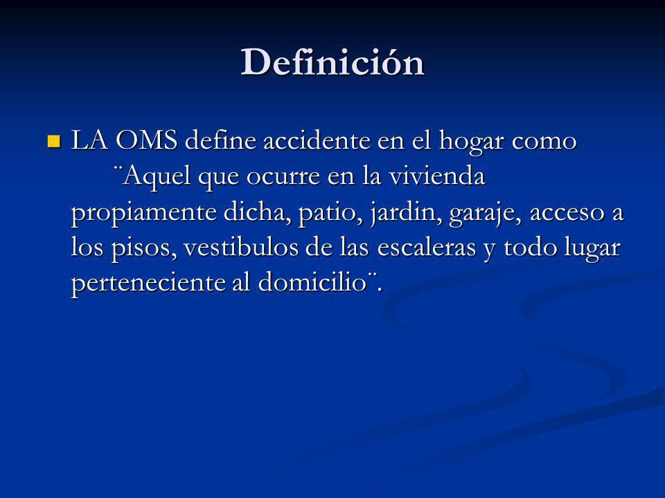 Definición LA OMS define accidente en el hogar como ¨Aquel que ocurre en la vivienda propiamente dicha, patio, jardin, garaje, acceso a los pisos, ves
