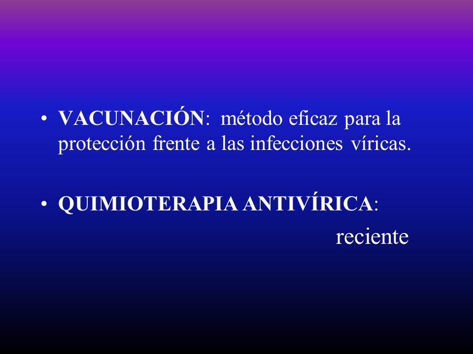 VACUNACIÓN: método eficaz para la protección frente a las infecciones víricas. QUIMIOTERAPIA ANTIVÍRICA: reciente