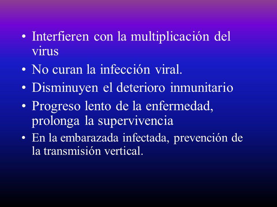 Interfieren con la multiplicación del virus No curan la infección viral. Disminuyen el deterioro inmunitario Progreso lento de la enfermedad, prolonga