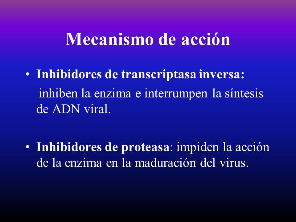 Mecanismo de acción Inhibidores de transcriptasa inversa: inhiben la enzima e interrumpen la síntesis de ADN viral. Inhibidores de proteasa: impiden l