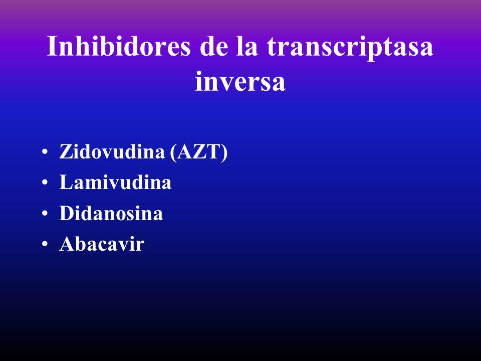 Inhibidores de la transcriptasa inversa Zidovudina (AZT) Lamivudina Didanosina Abacavir