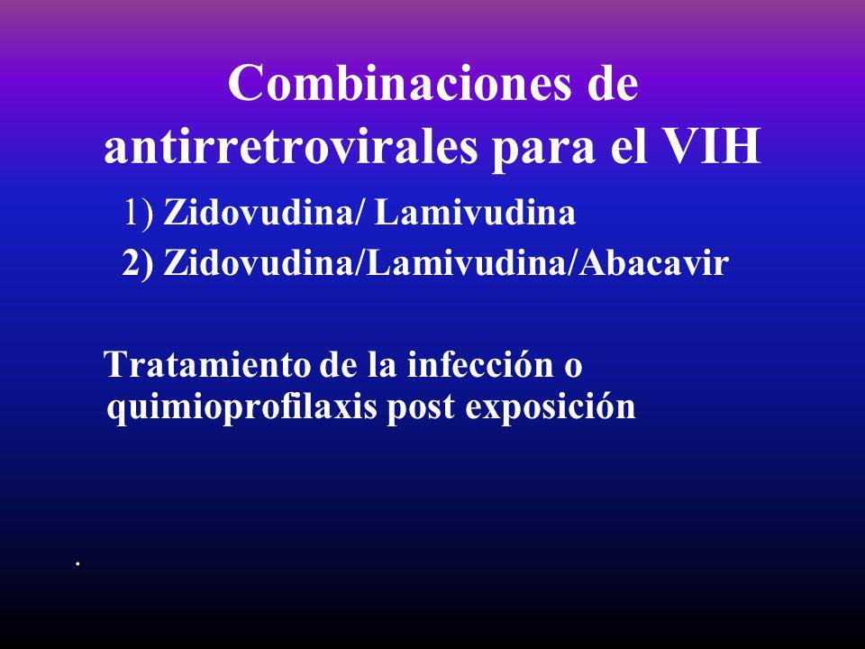 Combinaciones de antirretrovirales para el VIH 1) Zidovudina/ Lamivudina 2) Zidovudina/Lamivudina/Abacavir Tratamiento de la infección o quimioprofila