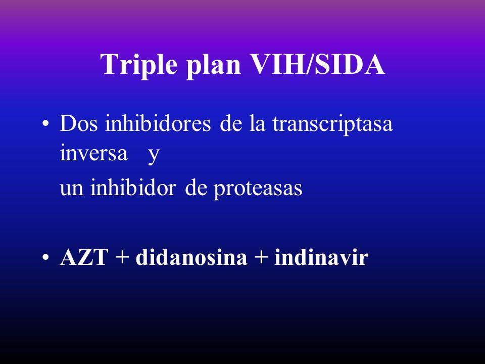Triple plan VIH/SIDA Dos inhibidores de la transcriptasa inversa y un inhibidor de proteasas AZT + didanosina + indinavir