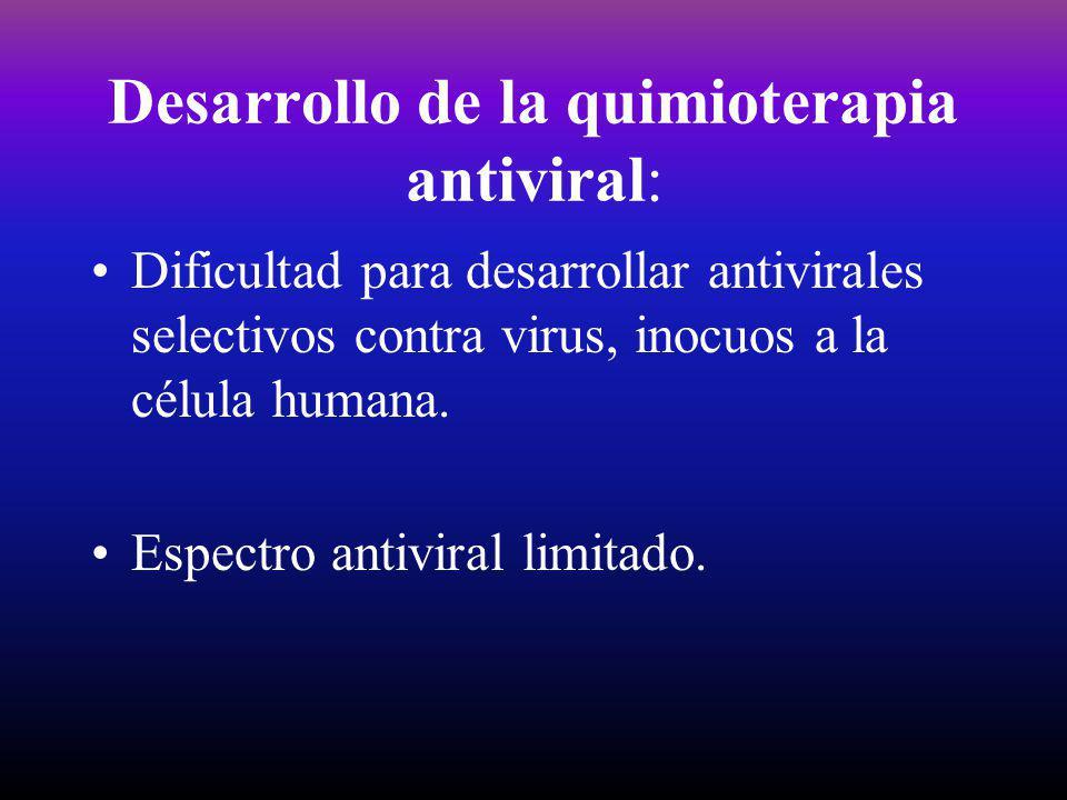Desarrollo de la quimioterapia antiviral: Dificultad para desarrollar antivirales selectivos contra virus, inocuos a la célula humana. Espectro antivi