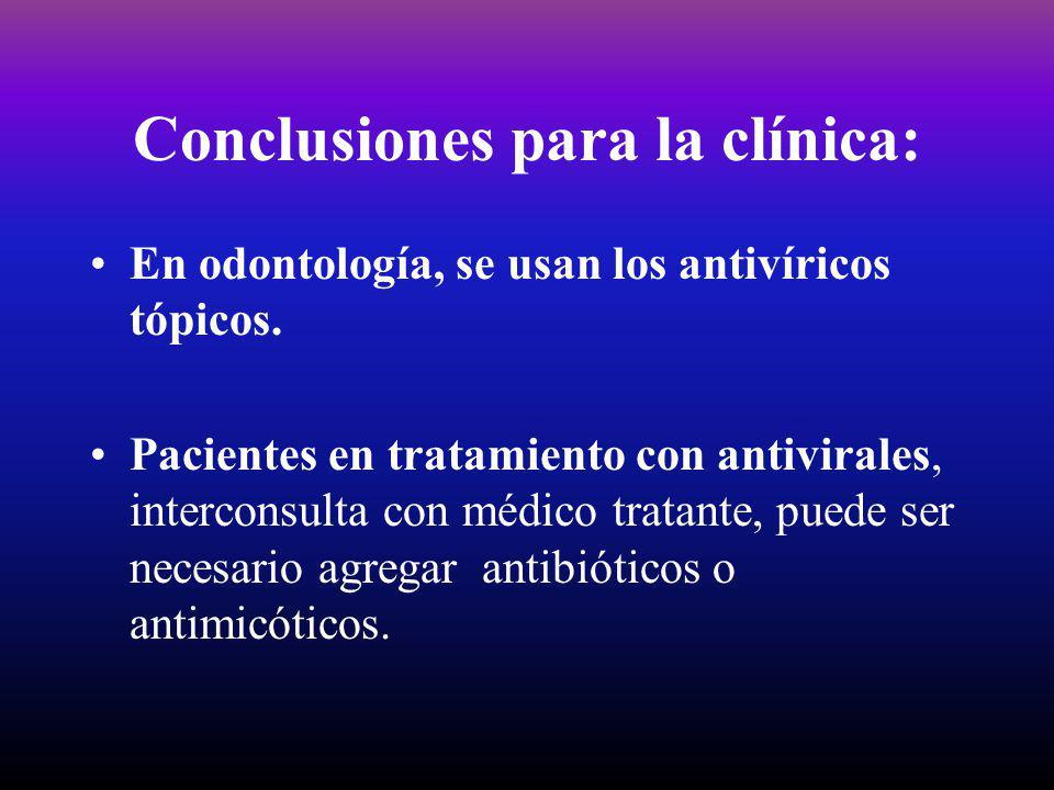 Conclusiones para la clínica: En odontología, se usan los antivíricos tópicos. Pacientes en tratamiento con antivirales, interconsulta con médico trat