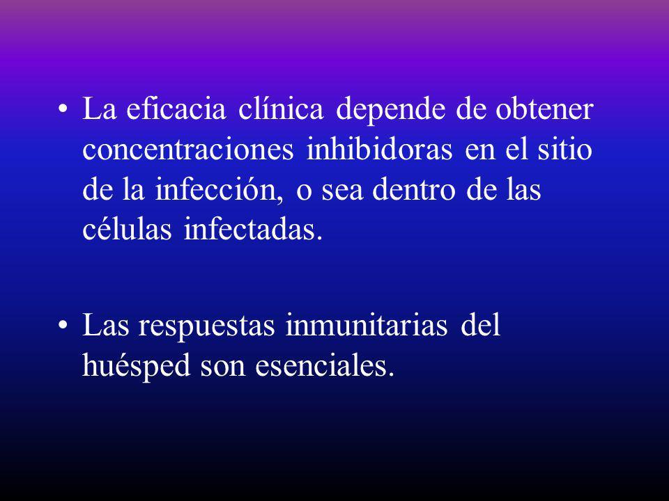 La eficacia clínica depende de obtener concentraciones inhibidoras en el sitio de la infección, o sea dentro de las células infectadas. Las respuestas