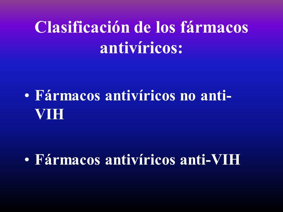 Clasificación de los fármacos antivíricos: Fármacos antivíricos no anti- VIH Fármacos antivíricos anti-VIH