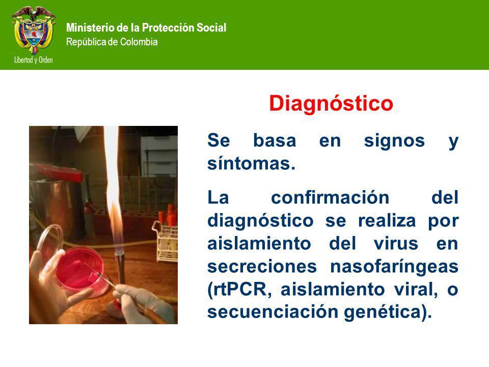 Ministerio de la Protección Social República de Colombia Diagnóstico Se basa en signos y síntomas. La confirmación del diagnóstico se realiza por aisl