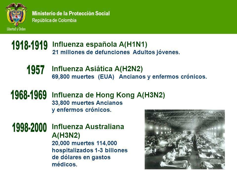 Ministerio de la Protección Social República de Colombia Influenza española A(H1N1) 21 millones de defunciones Adultos jóvenes. Influenza de Hong Kong