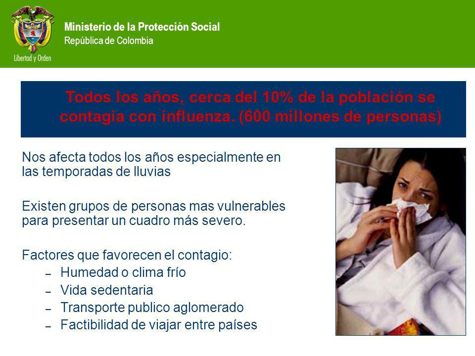Ministerio de la Protección Social República de Colombia Influenza impacto Nos afecta todos los años especialmente en las temporadas de lluvias Existen grupos de personas mas vulnerables para presentar un cuadro más severo.