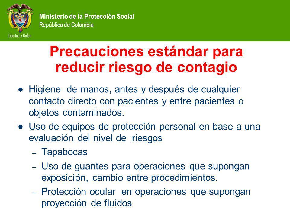 Ministerio de la Protección Social República de Colombia Precauciones estándar para reducir riesgo de contagio Higiene de manos, antes y después de cu