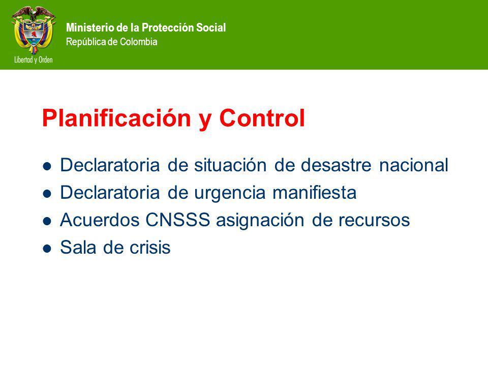 Ministerio de la Protección Social República de Colombia Planificación y Control Declaratoria de situación de desastre nacional Declaratoria de urgencia manifiesta Acuerdos CNSSS asignación de recursos Sala de crisis