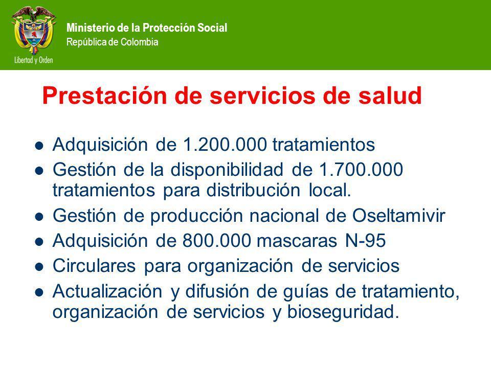 Ministerio de la Protección Social República de Colombia Prestación de servicios de salud Adquisición de 1.200.000 tratamientos Gestión de la disponibilidad de 1.700.000 tratamientos para distribución local.