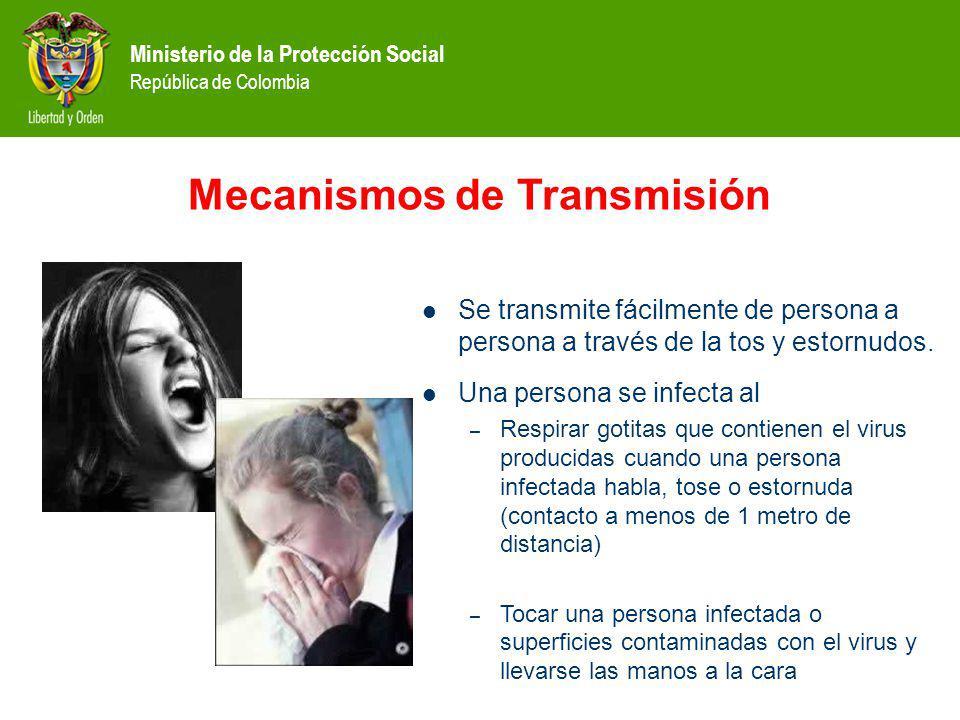 Ministerio de la Protección Social República de Colombia Mecanismos de Transmisión Se transmite fácilmente de persona a persona a través de la tos y estornudos.
