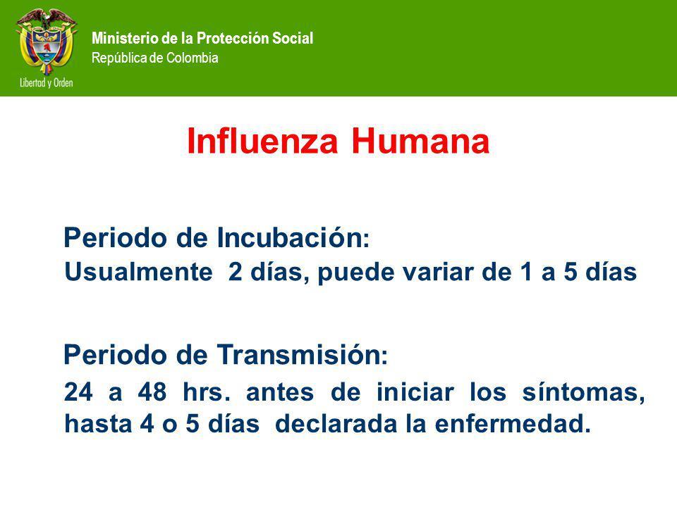 Ministerio de la Protección Social República de Colombia Manifestaciones Clínicas Fiebre de inicio súbito, escalofríos, cefalea, mialgias difusas, rinorrea, tos seca, conjuntivitis, dolor de garganta, malestar general.