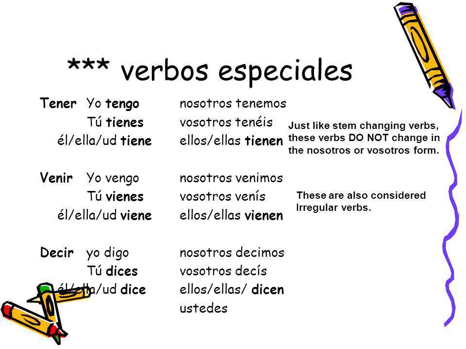 *** verbos especiales TenerYo tengonosotros tenemos Tú tienesvosotros tenéis él/ella/ud tieneellos/ellas tienen VenirYo vengonosotros venimos Tú viene