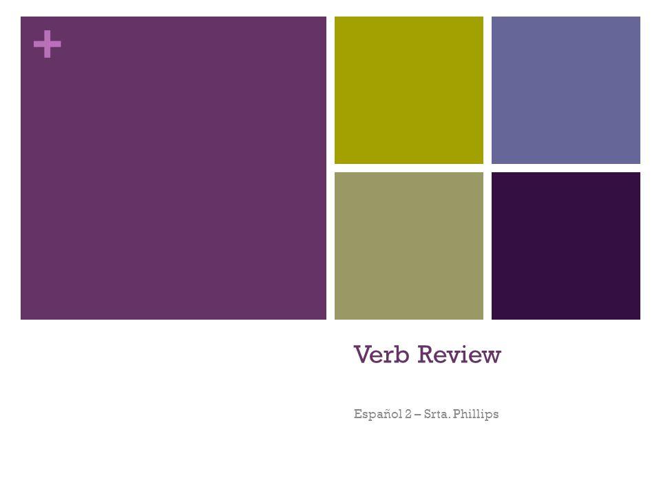 + Los Verbos Action words are verbs.