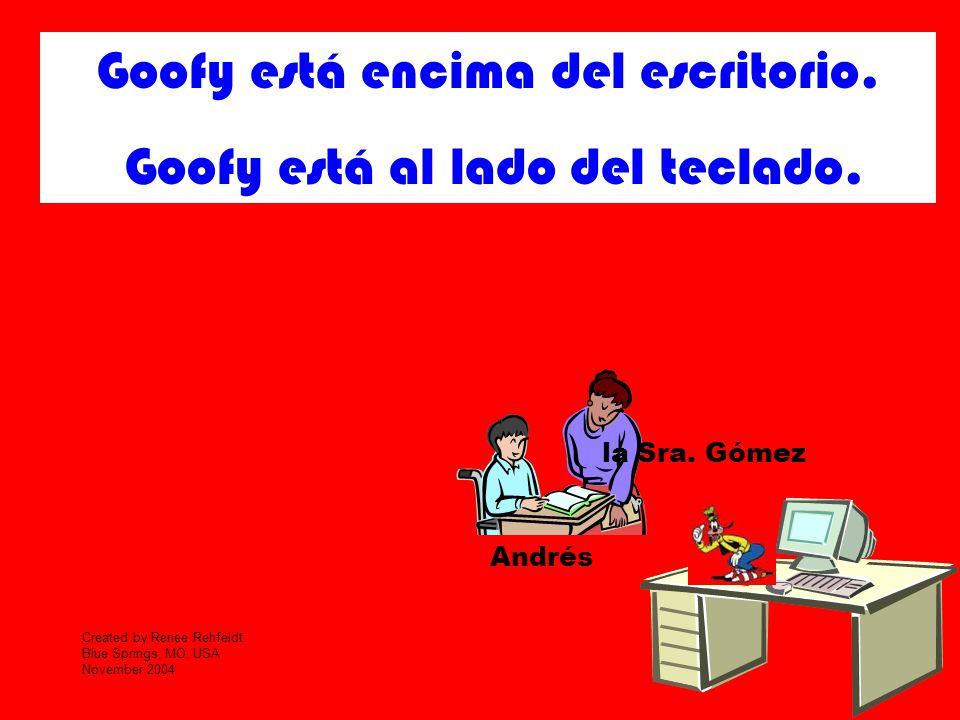 Goofy está encima del escritorio. Goofy está al lado del teclado.