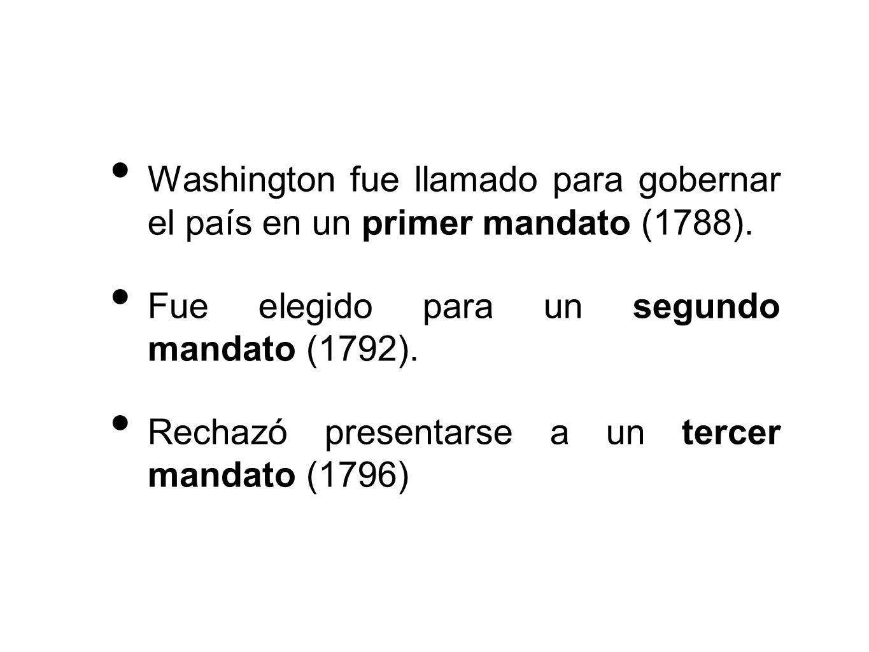 Washington fue llamado para gobernar el país en un primer mandato (1788).