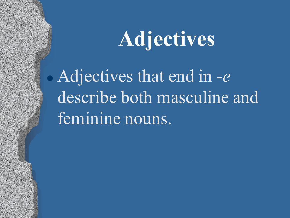 Adjectives l Feminine adjectives are used to describe feminine nouns.