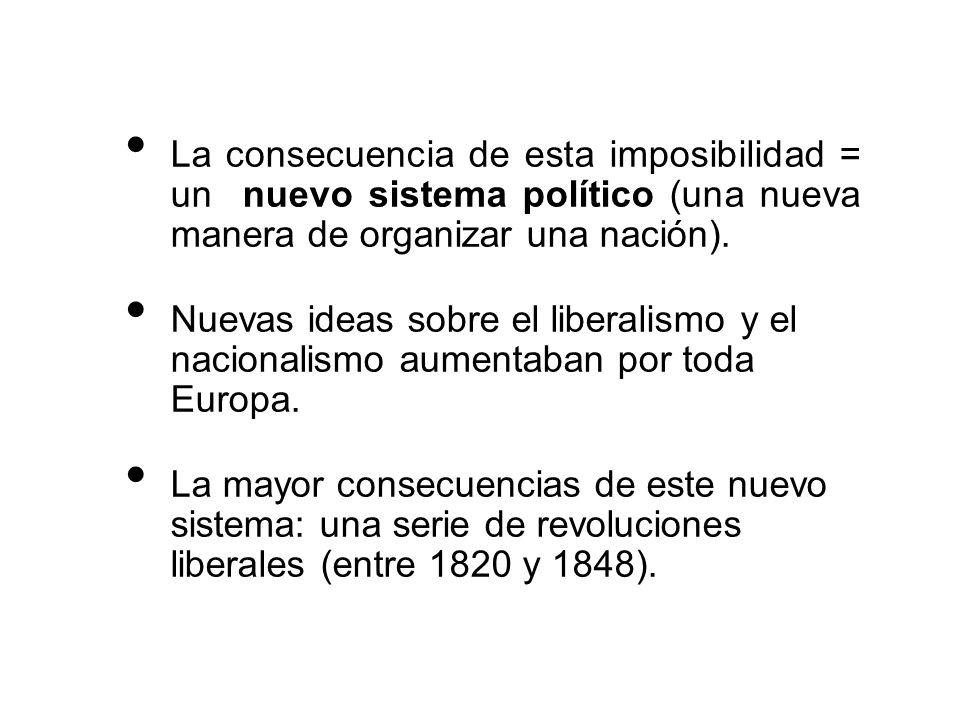 La consecuencia de esta imposibilidad = un nuevo sistema político (una nueva manera de organizar una nación). Nuevas ideas sobre el liberalismo y el n