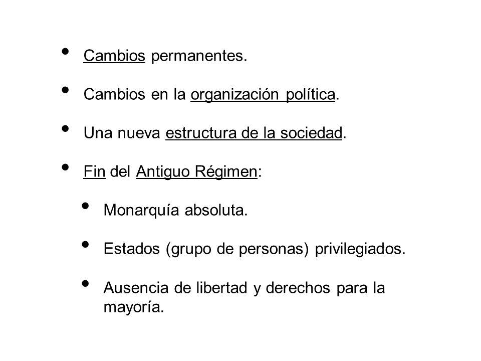 Cambios permanentes. Cambios en la organización política. Una nueva estructura de la sociedad. Fin del Antiguo Régimen: Monarquía absoluta. Estados (g