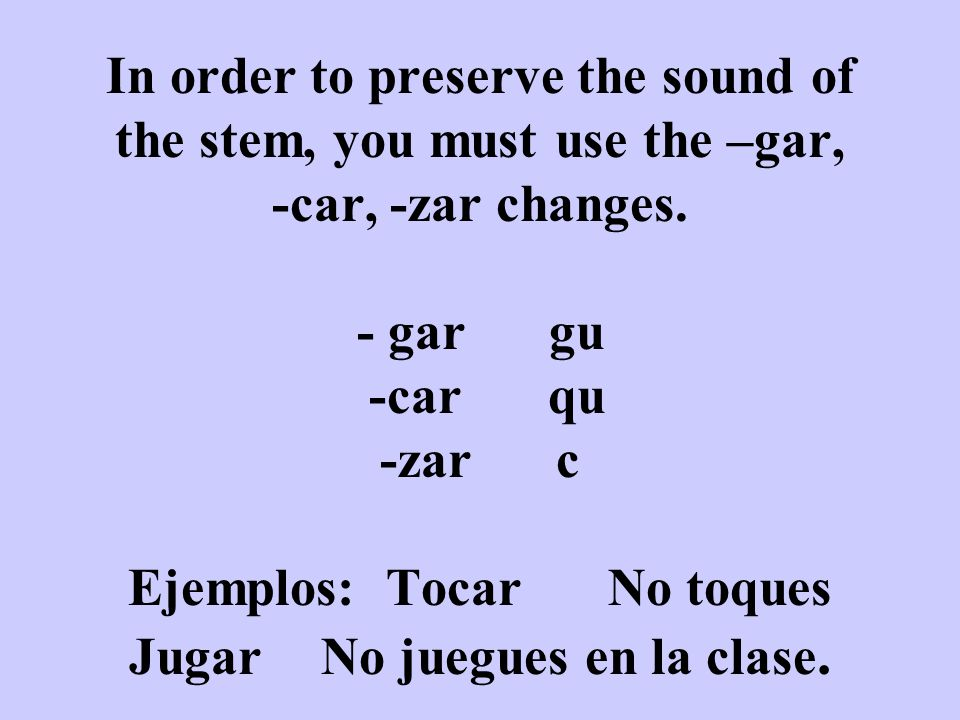 Verbos Reflexivos In the negative form of all reflexive verbs (in the command) the reflexive pronoun is placed before the verb.
