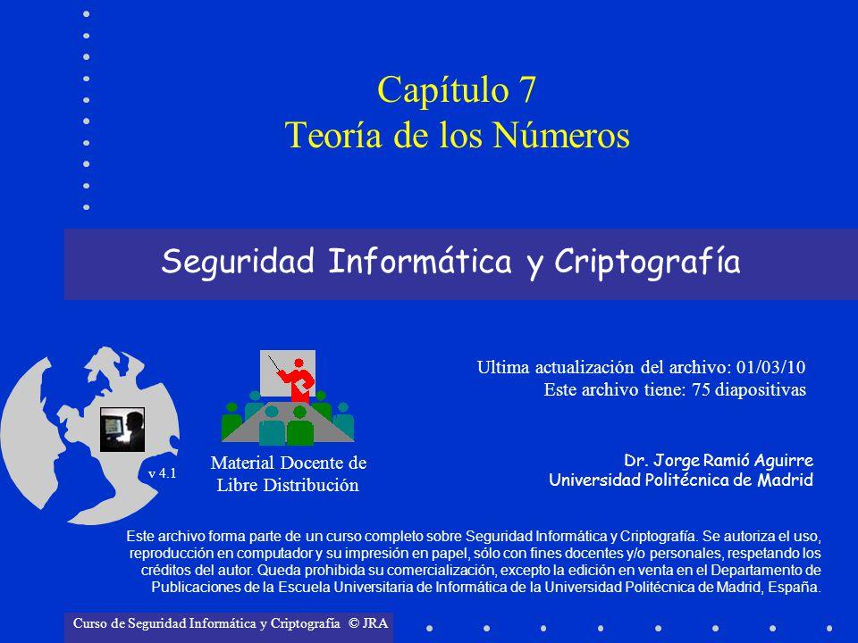 © Jorge Ramió Aguirre Madrid (España) 2006 Capítulo 7: Teoría de los Números Página 278 y 1 = inv [(n/d 1 ), d 1 y 1 = inv [(3.960/8), 8 = inv (495, 8) y 2 = inv [(n/d 2 ), d 2 y 2 = inv [(3.960/9), 9 = inv (440, 9) y 3 = inv [(n/d 3 ), d 3 y 3 = inv [(3.960/5), 5 = inv (792,5) y 4 = inv [(n/d 4 ), d 4 y 4 = inv [(3.960/11), 11 = inv (360, 11) y 1 = 7 y 2 = 8 y 3 = 3 y 4 = 7 Ejemplo de aplicación del TRC (3) Resolvemos ahora la ecuación auxiliar del Teorema Resto Chino y i = inv [(n/d i ), d i