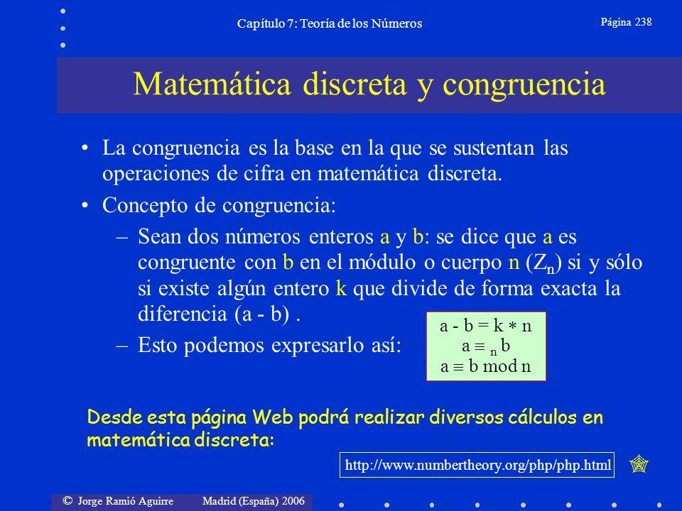 © Jorge Ramió Aguirre Madrid (España) 2006 Capítulo 7: Teoría de los Números Página 259 Caso 2: n = p k (con p primo y k un entero) (n) = (p k ) = p k - p k-1 (p k ) = p k-1 (p-1) De los p k elementos del CCR, restaremos todos los múltiplos 1 p, 2 p, 3 p,...(p k-1 -1) p y el cero.