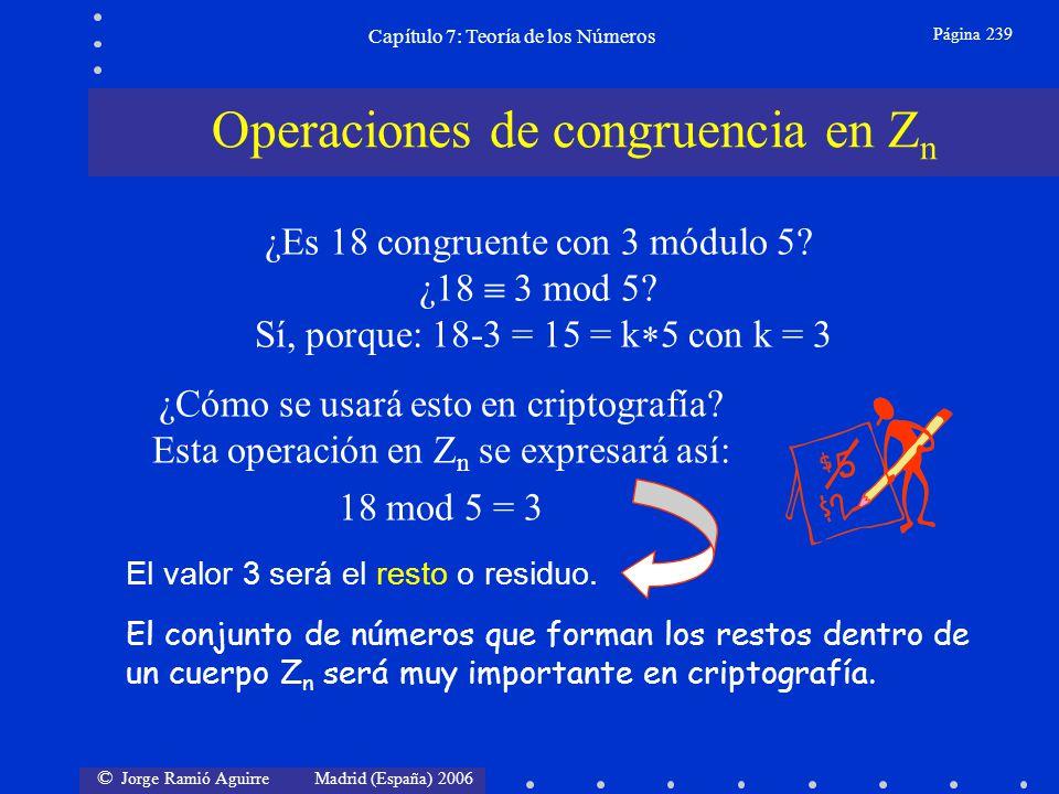 © Jorge Ramió Aguirre Madrid (España) 2006 Capítulo 7: Teoría de los Números Página 240 Propiedad Reflexiva: a a mod n a Z Propiedad Simétrica: a b mod n b a mod n a,b Z Propiedad Transitiva: Si a b mod n y b c mod n a c mod n a,b,c Z Propiedades de la congruencia en Z n