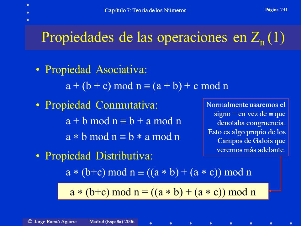 © Jorge Ramió Aguirre Madrid (España) 2006 Capítulo 7: Teoría de los Números Página 242 Existencia de Identidad: a + 0 mod n = 0 + a mod n = a mod n = a a 1 mod n = 1 a mod n = a mod n = a Existencia de Inversos: a + (-a) mod n = 0 a (a -1 ) mod n = 1 (si a 0) Reducibilidad: (a + b) mod n = [(a mod n) + (b mod n)] mod n (a b) mod n = [(a mod n) (b mod n)] mod n No siempre existe Ambos serán muy importantes en criptografía Propiedades de las operaciones en Z n (2)
