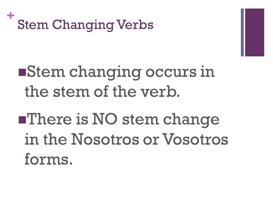 + Stem Changing Verbs Stem changing occurs in the stem of the verb.