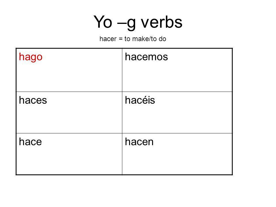 Yo –g verbs hagohacemos haceshacéis hacehacen hacer = to make/to do