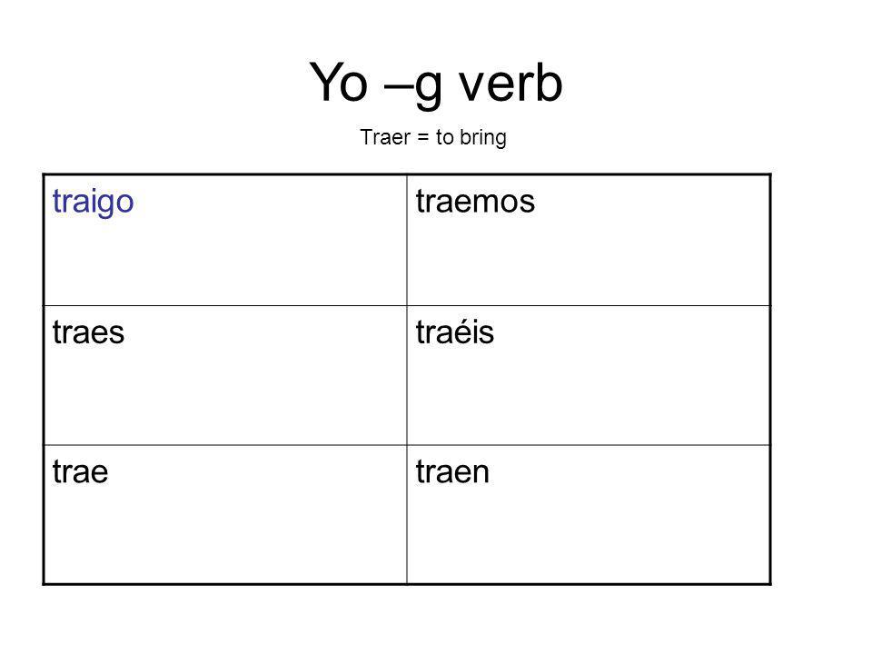 Yo –g verb traigotraemos traestraéis traetraen Traer = to bring
