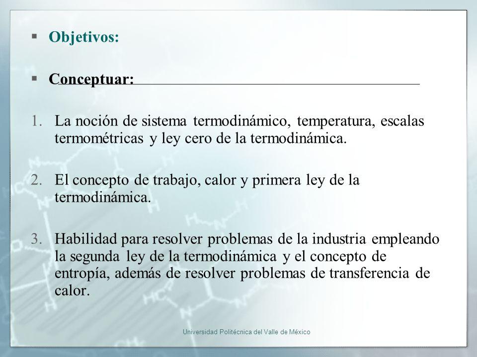 Universidad Politécnica del Valle de México Objetivos: Conceptuar: 1.La noción de sistema termodinámico, temperatura, escalas termométricas y ley cero de la termodinámica.