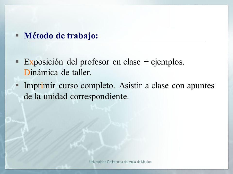 Universidad Politécnica del Valle de México Método de trabajo: Exposición del profesor en clase + ejemplos.