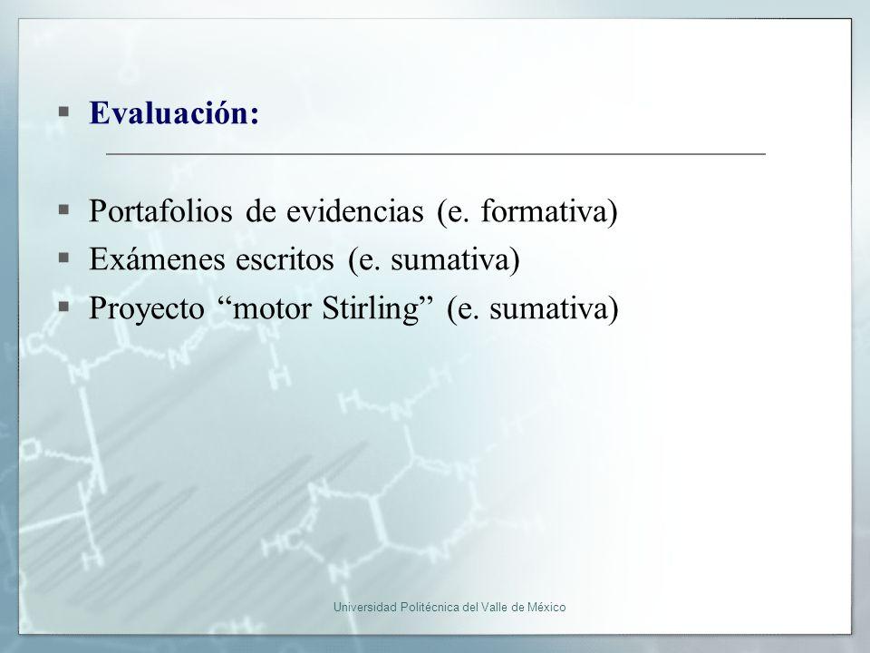 Universidad Politécnica del Valle de México Evaluación: Portafolios de evidencias (e.