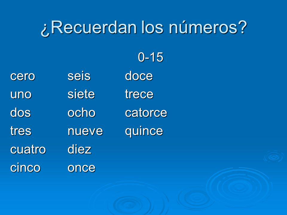 ¿Recuerdan los números? 0-15 ceroseisdoce unosietetrece dosochocatorce tresnuevequince cuatrodiez cincoonce