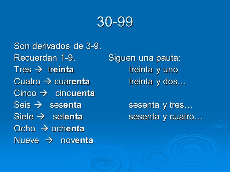 30-99 Son derivados de 3-9. Recuerdan 1-9. Siguen una pauta: Tres treintatreinta y uno Cuatro cuarentatreinta y dos… Cinco cincuenta Seis sesentasesen