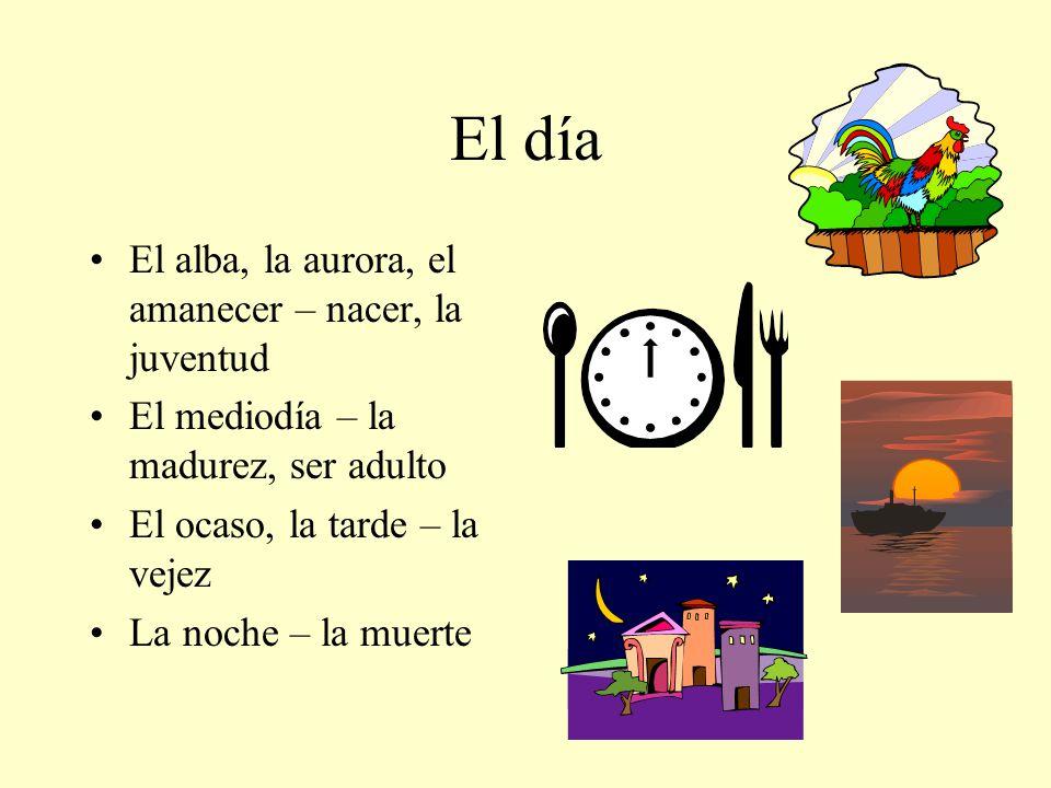 El día El alba, la aurora, el amanecer – nacer, la juventud El mediodía – la madurez, ser adulto El ocaso, la tarde – la vejez La noche – la muerte