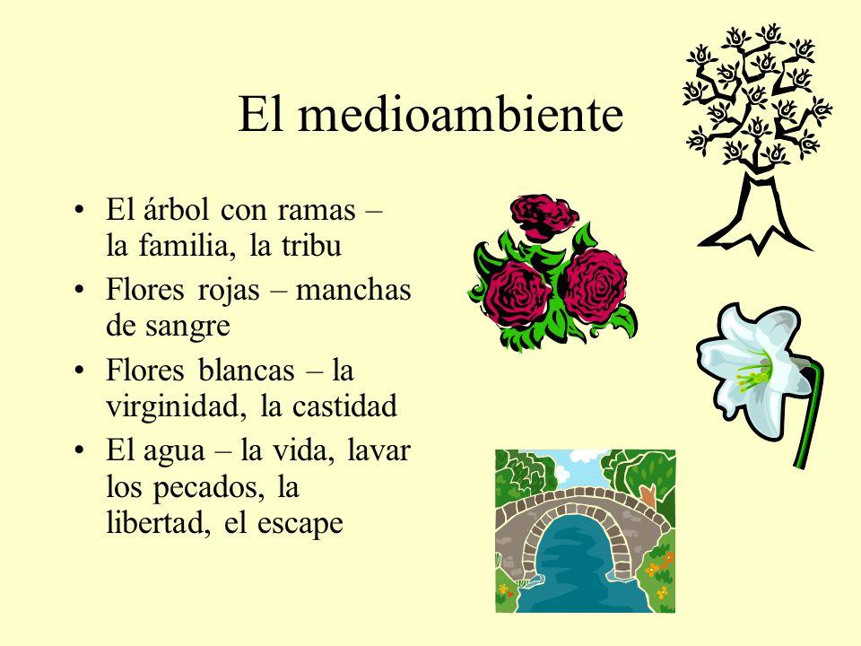 El medioambiente El árbol con ramas – la familia, la tribu Flores rojas – manchas de sangre Flores blancas – la virginidad, la castidad El agua – la v