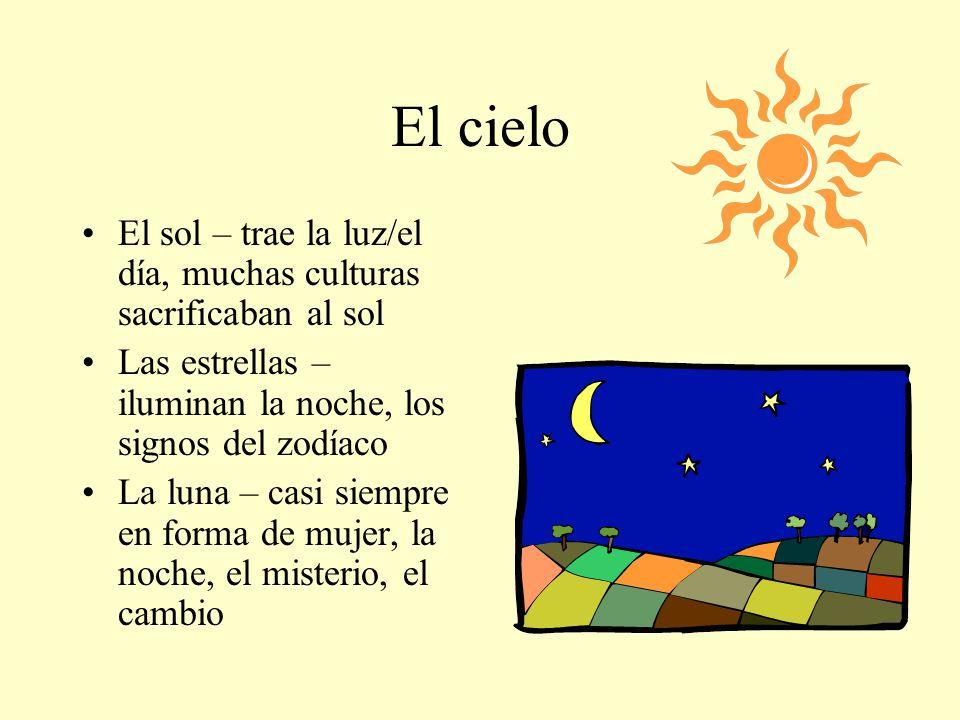 El cielo El sol – trae la luz/el día, muchas culturas sacrificaban al sol Las estrellas – iluminan la noche, los signos del zodíaco La luna – casi sie