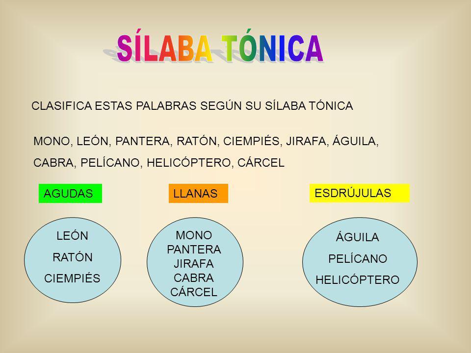 CLASIFICA ESTAS PALABRAS SEGÚN SU SÍLABA TÓNICA AGUDASLLANAS ESDRÚJULAS MONO, LEÓN, PANTERA, RATÓN, CIEMPIÉS, JIRAFA, ÁGUILA, CABRA, PELÍCANO, HELICÓP