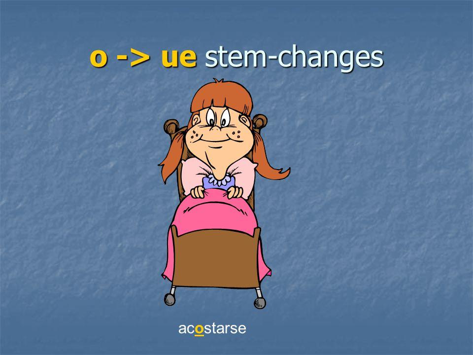 o -> ue stem-changes acostarse
