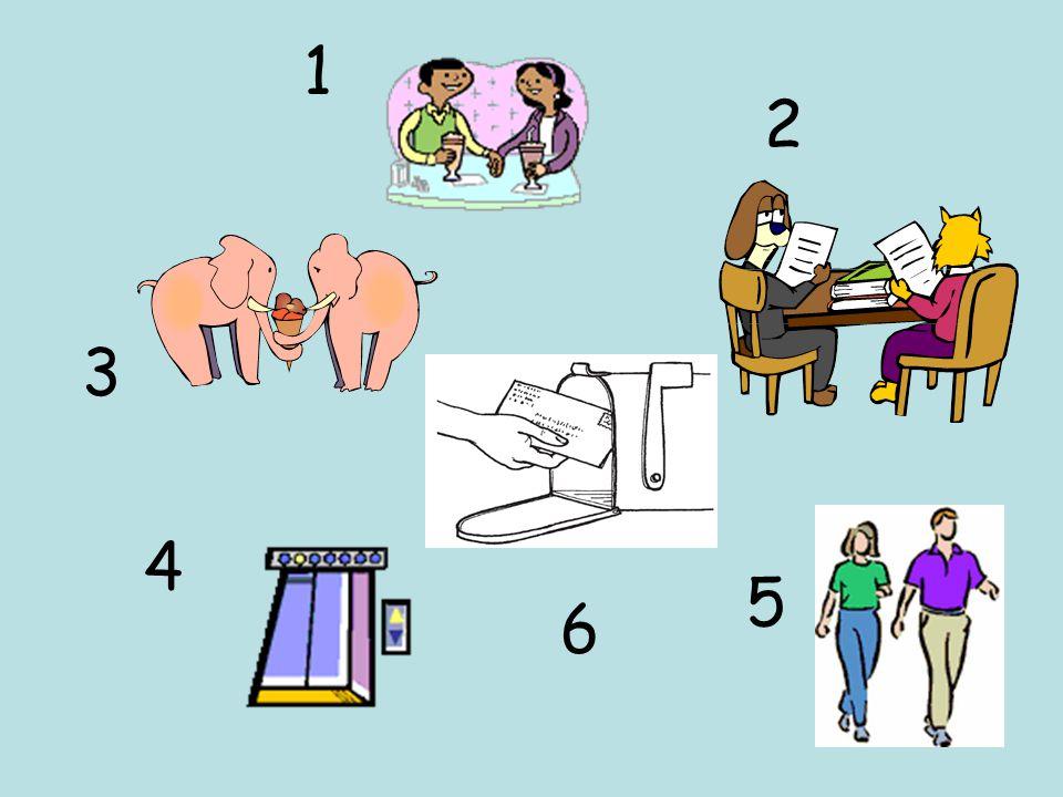 1) compartir 2) pasear 3) mandar una carta 4) beber 5) abrir 6) aprender