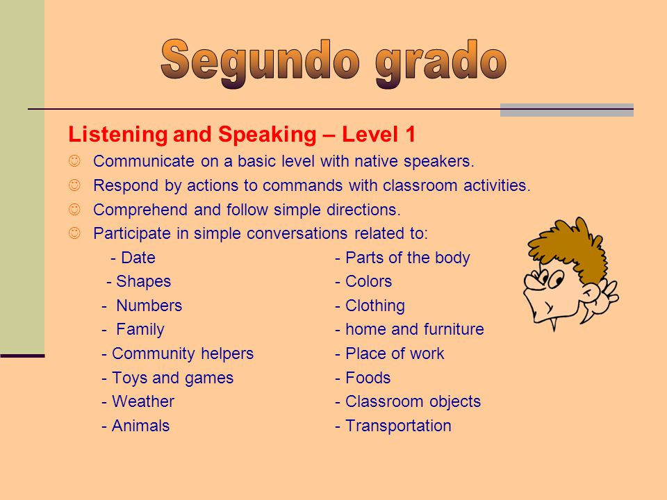 Listening and Speaking – Level 1 Communicate on a basic level with native speakers. Respond by actions to commands with classroom activities. Comprehe