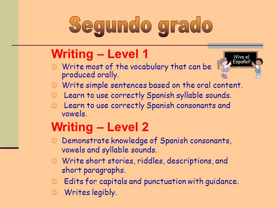 Writing – Level 1 Write most of the vocabulary that can be produced orally.
